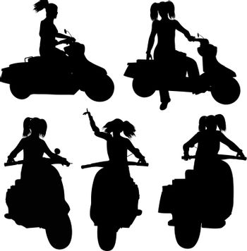 silhouette of motorcycle and woman