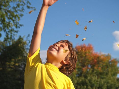 young boy throwing leaves in the air on an autumn day