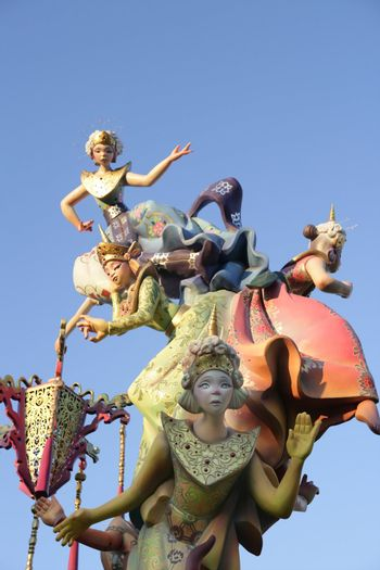 Fallas from Valencia, typical Spain celebration with cartoon colorful funny figures