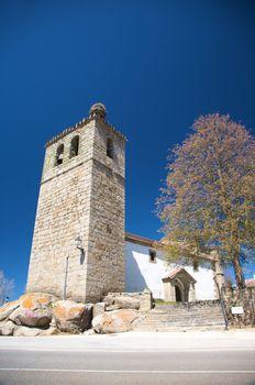 church with stork nest