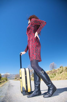 female traveller looking back