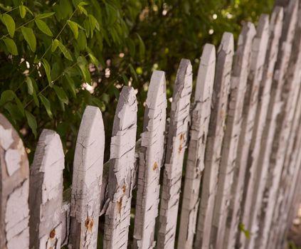 Old White picket fence diagonal