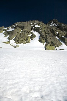 rock peak and snow slope