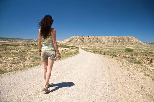 hiking desert road