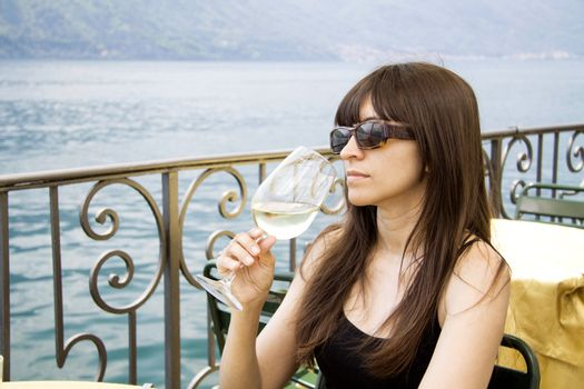 Sipping white wine