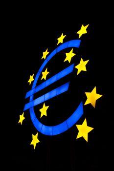Euro symbol isolated on black