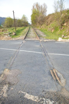 rail train on asphalt