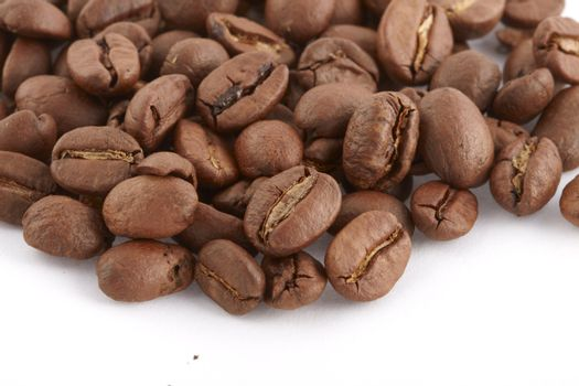 Coffe beans macro on white background