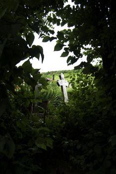 old cemetery cross in romania