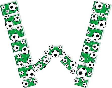 W, Alphabet Football letters made of soccer balls and fields. Vector