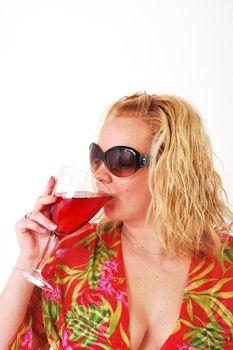 Pretty girl enjoying a glass of wine
