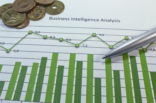 Business Intelligency Analysis Graph with a pen and some coins