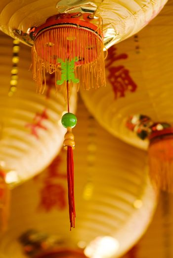 the tassel of chinese knot in yellow lantern