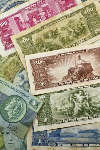 Old Brazilian Money in paper of different years