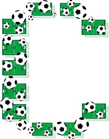 C, Alphabet Football letters made of soccer balls and fields. Vector