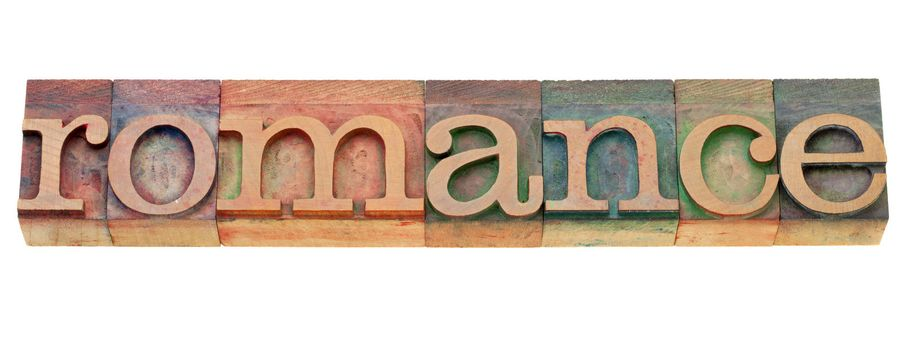 romance - isolated word in vintage wood letterpress printing blocks