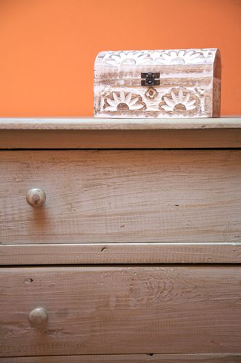 chest of drawers with wood box