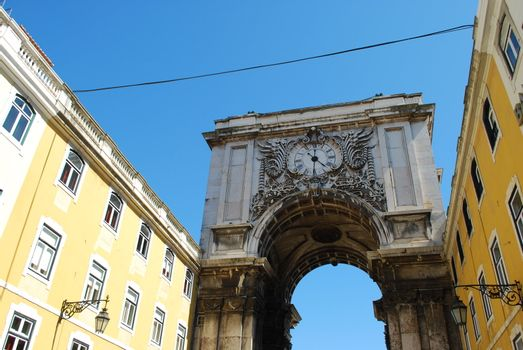 Arch crossing from Augusta street to Commerce square in Lisbon, Portugal