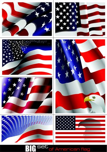 4th July – Independence day of United States of America. Big set of American flag. Vector illutration