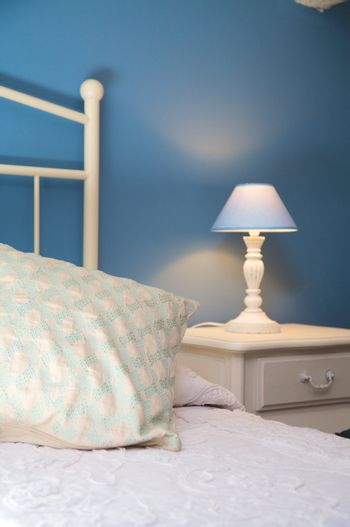 pillow and bedside table