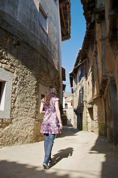 woman at ancient street