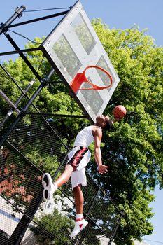 Jumping basketball player