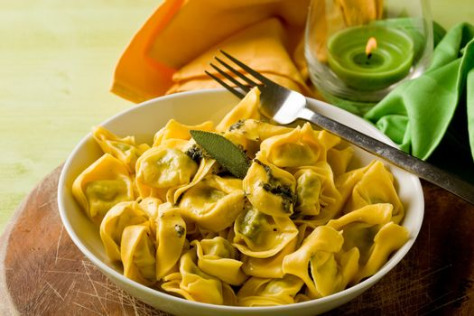 Tortellini with Butter and Sage with green background