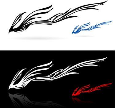 Set of phoenix icons. Illustration on white and black background