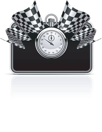 Checkered flag with a stopwatch background. Vector illustration. Easy to resize frame