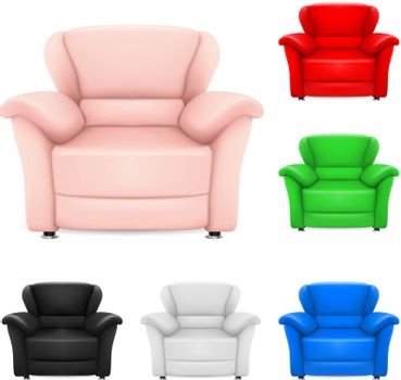 Colored set of stylish chairs. Illustration on white background