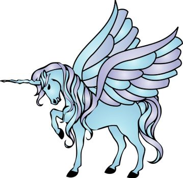 illustration of a blue unicorn with wings