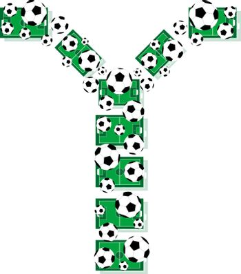 Y, Alphabet Football letters made of soccer balls and fields. Vector