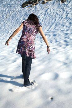 back woman at snow in salamanca