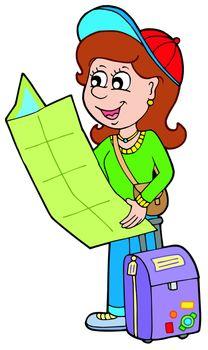 Cartoon girl traveller