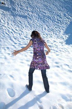 walking at snow in salamanca
