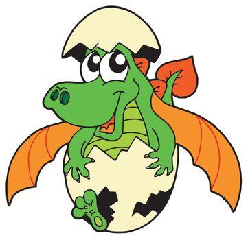 Cute dragon in egg