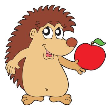 Hedgehog with apple vector illustration