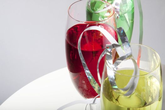 Colorful drinks with streamers