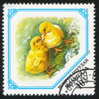 MONGOLIA - CIRCA 1982: stamp printed by Mongolia, shows Chicks, circa 1982.