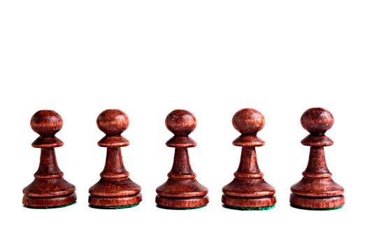 Five black pawns on a white background.