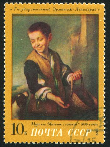 RUSSIA - CIRCA 1972: stamp printed by Russia, shows Boy with Dog, by Murillo, circa 1972