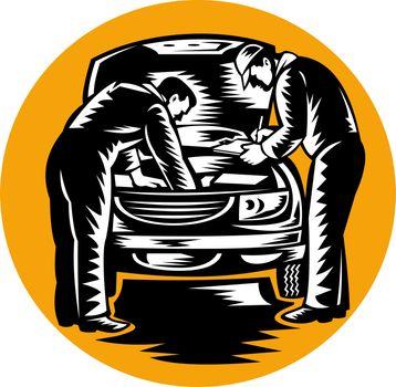 automobile car mechanic repairing vehicle