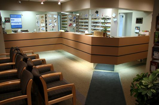 The patient's waiting room at a dental office