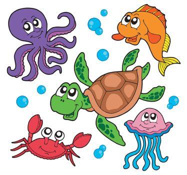 Marine animals collection - vector illustration.