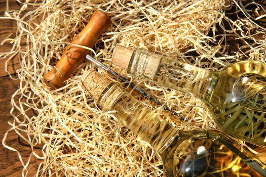 Bottles of wine  with cork screw