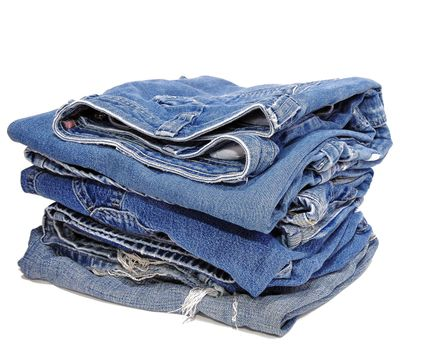 Jeans folded in a neat stack