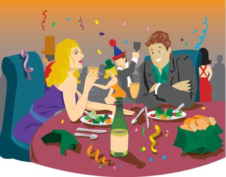 Man and woman at dinner party for a festive occasion with people dancing and having fun in the background. Linear gradients are included. Created from an original drawing. Vector file items are grouped and layered for easy editing.
