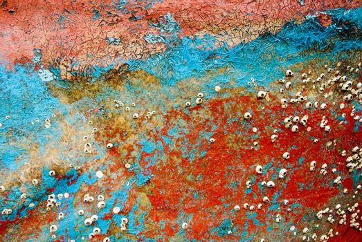 Colorful background, remains of boat