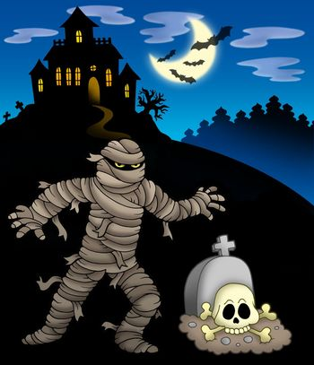 Mummy with haunted mansion