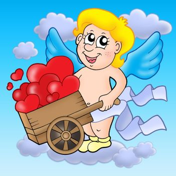 Smiling cupid with wheelbarrow